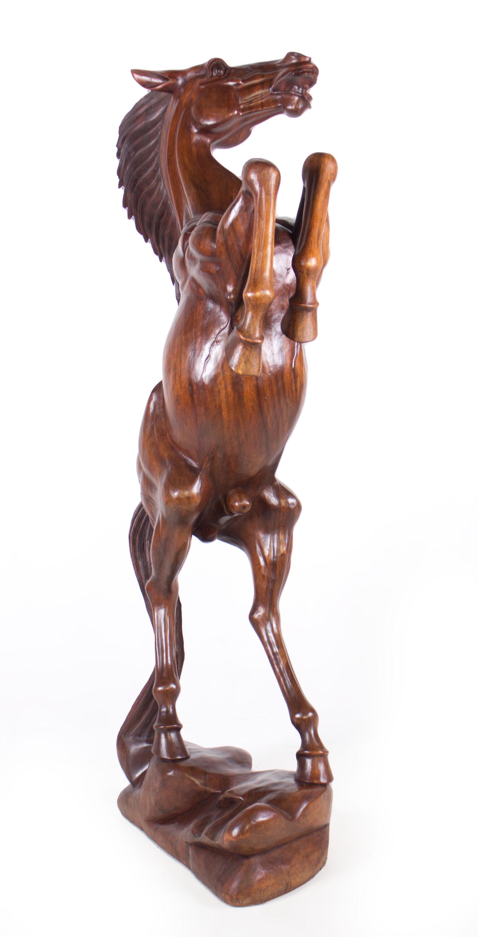 Img handmade in bali large suar wood horse statue