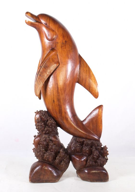 Img handmade in bali large suar wood dolphin statue