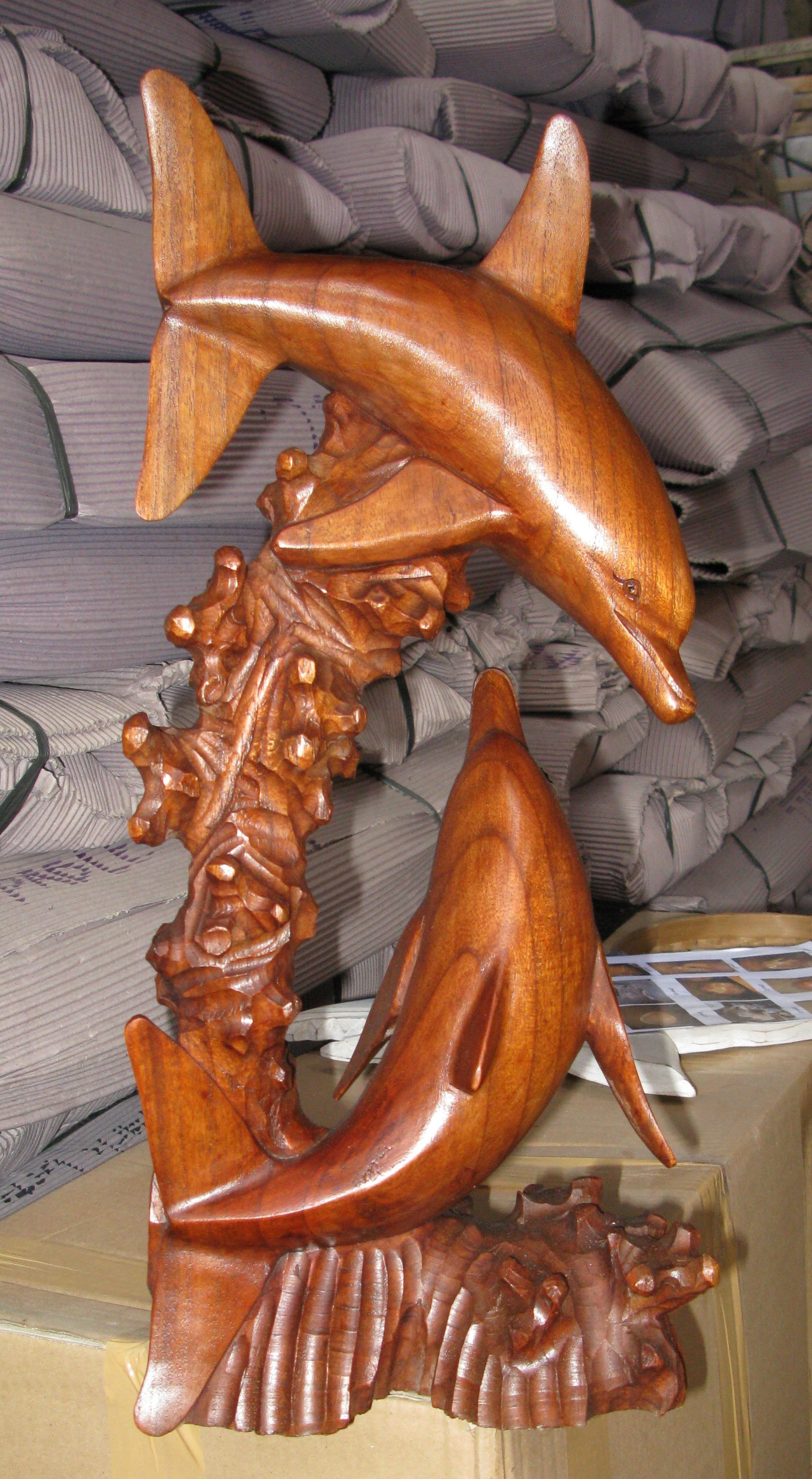 Img handmade in bali suar wood statue of dolphins