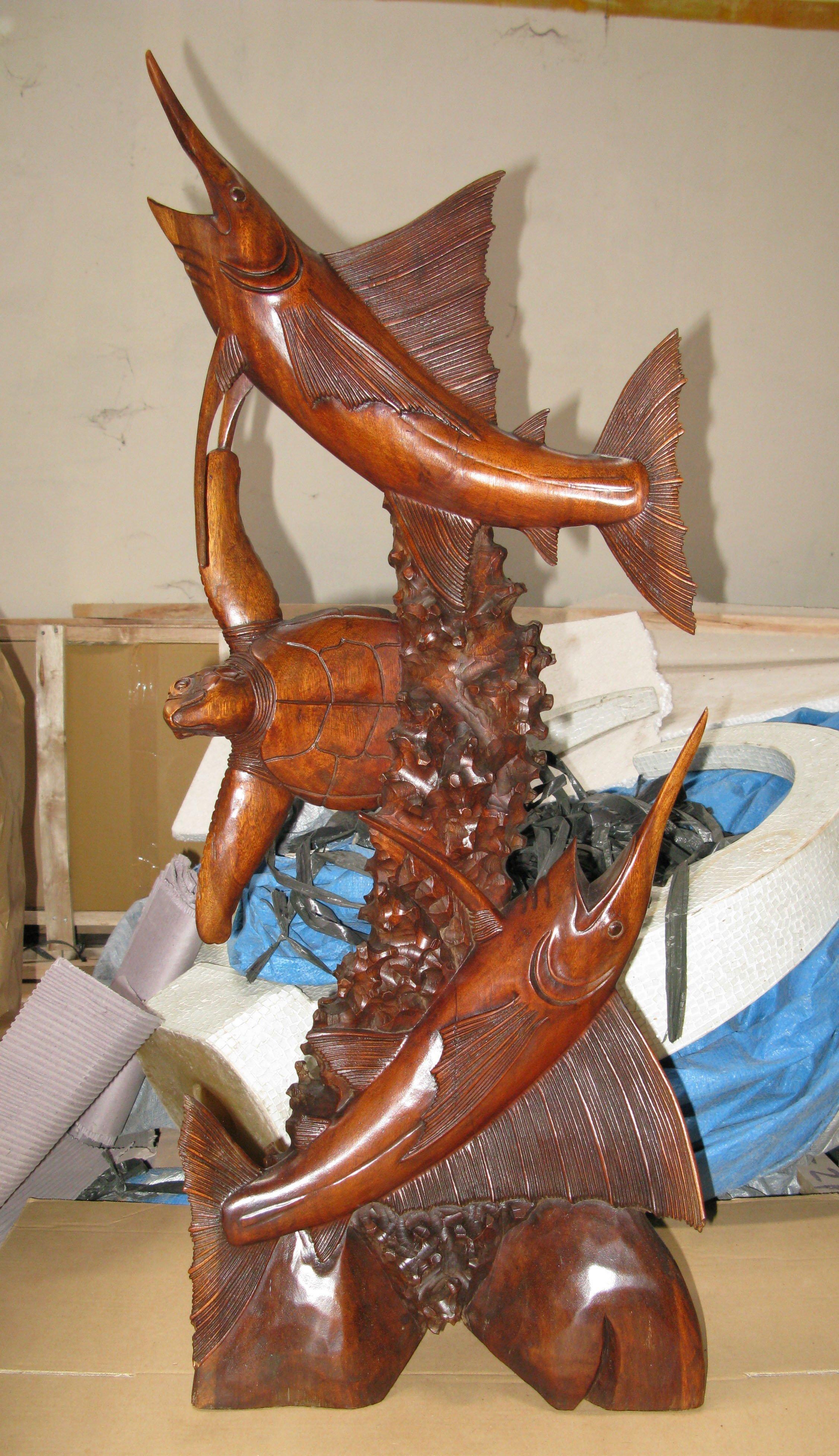 Img handmade in bali suar wood statue of sailfish